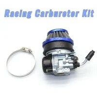 racing carburetor kit w blue air filter 58mm for 2 stroke motorized bicycle 49cc 50cc 60cc 66cc 80cc