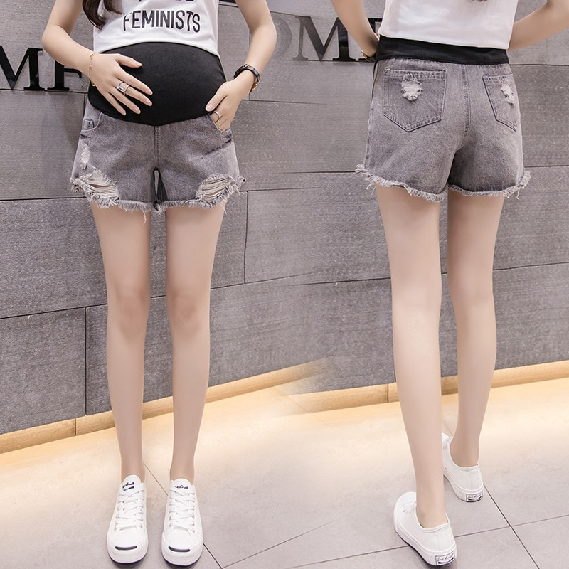 New Maternity Clothes SummerPregnant Women Pants Fashion Hole Pregnant Women Three Pants Support Belly Pants Denim Shorts enlarge