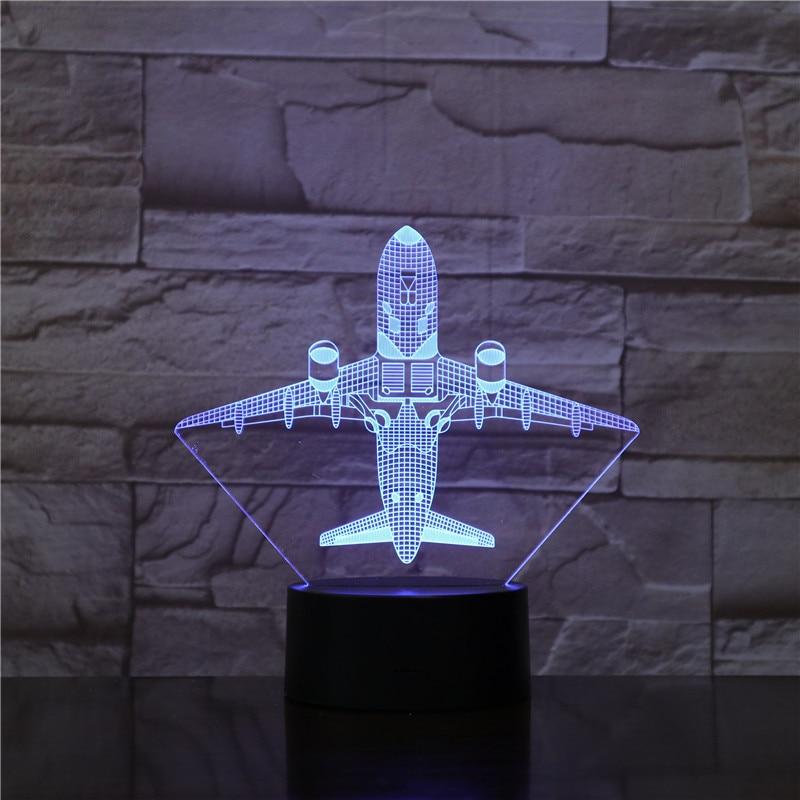 Avión de guerra avión 3D luces de noche lámpara de mesa varios colores avión militar con USB Decoración de energía regalo Dropshipping 1782