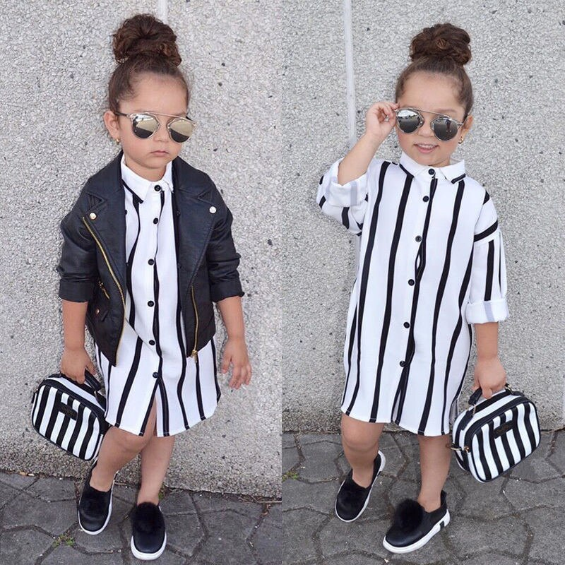 1-6 t 베이비 걸스 블랙 화이트 스트라이프 드레스 2019 봄 여름 긴 소매 셔츠 탑스 귀여운 드레스 걸스 하의 유아 아동복