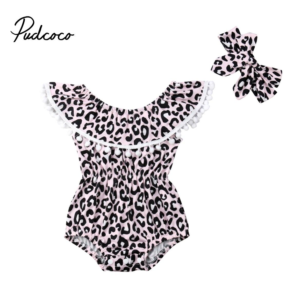Leopard noworodka maluch niemowlę dziecko dziewczyny Tassel body Bowknot wzburzyć bez rękawów kombinezon bawełna letnie stroje ubrania 0-24 M