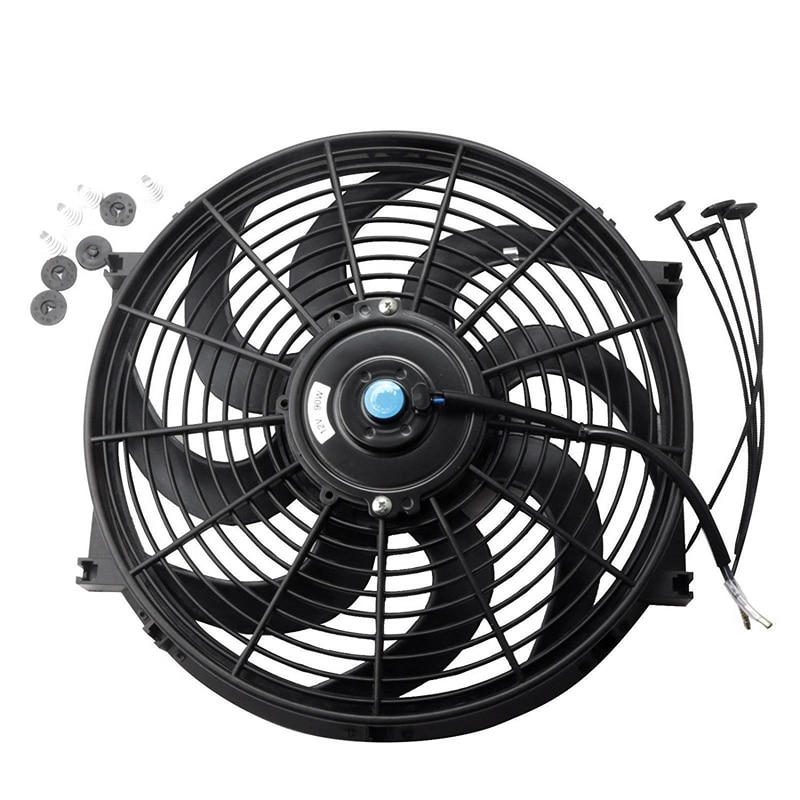 Black Universal Electric Radiator Slim Fan Push/Pull 12V + Mounting Kit (14 Inch)