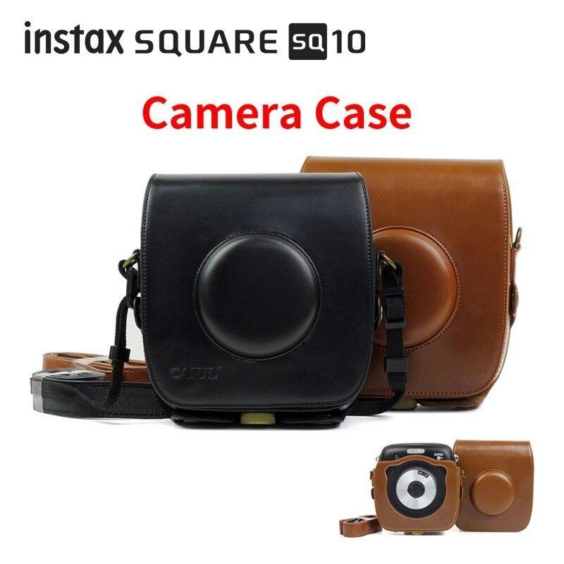 Carry PU кожаная сумка чехол с плечевым ремнем для Fujifilm Instax квадратный SQ10 мгновенный Плёнки фото Камера черный/ коричневый