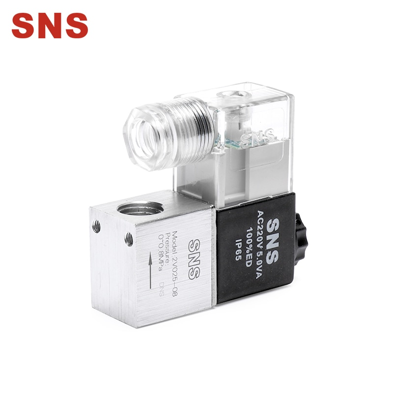 "SNS válvulas solenoides de aire 2V025-08 2 Posición 2 puerto 1/4 ""normalmente cerrado Válvula de control neumática"