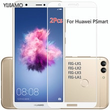 2Pcs 9H Tempered Full Cover Glass For Huawei PSmart Screen Protector For Huawei P Smart Glass 3D Pro