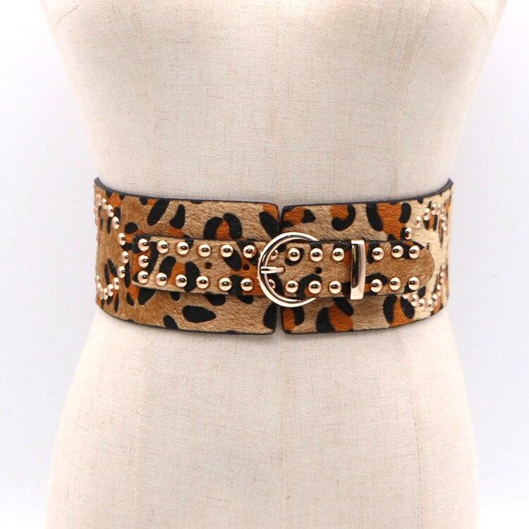 Moda mujer cinturón de crin cinturones femeninos con patrón de leopardo pantalones vaqueros cinturón chica Otoño Invierno vestido accesorios QW09