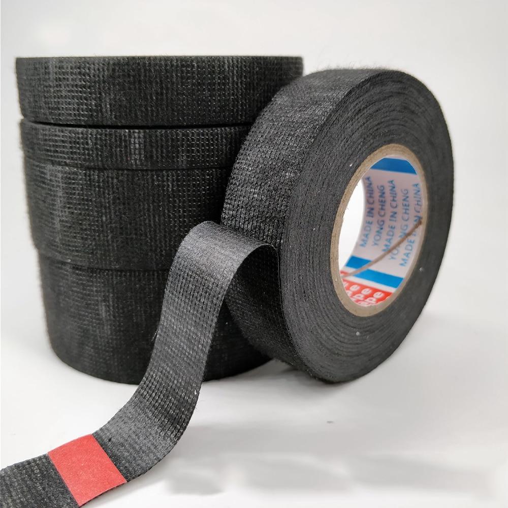Arnés de cableado para coche, aislamiento acústico, 15 m, vellón, negro, tejido adhesivo, cinta de tela, cinta para estilizar el coche