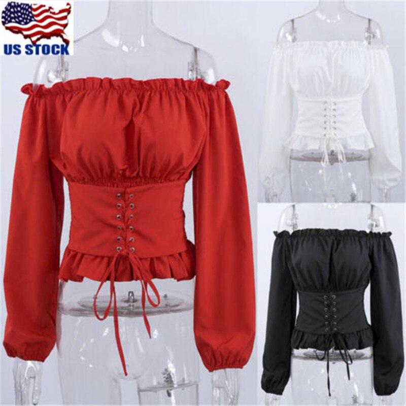 Модная женская блузка с длинным рукавом, топ с плеча, рубашка со шнуровкой и корсетом