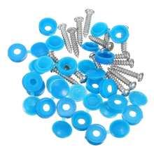 16 Uds Universal coche azul 22mm número placa fijación tapas para tornillos tuercas montaje Kit de fijación