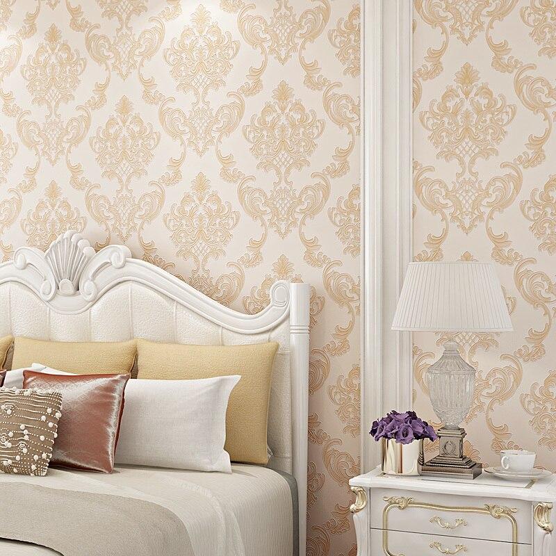 Papel tapiz de lujo Damasco Europa Papel tapiz 3d de espuma Papel de pared de salón dormitorio Papel Mural clásico decoración interior del hogar Qz093