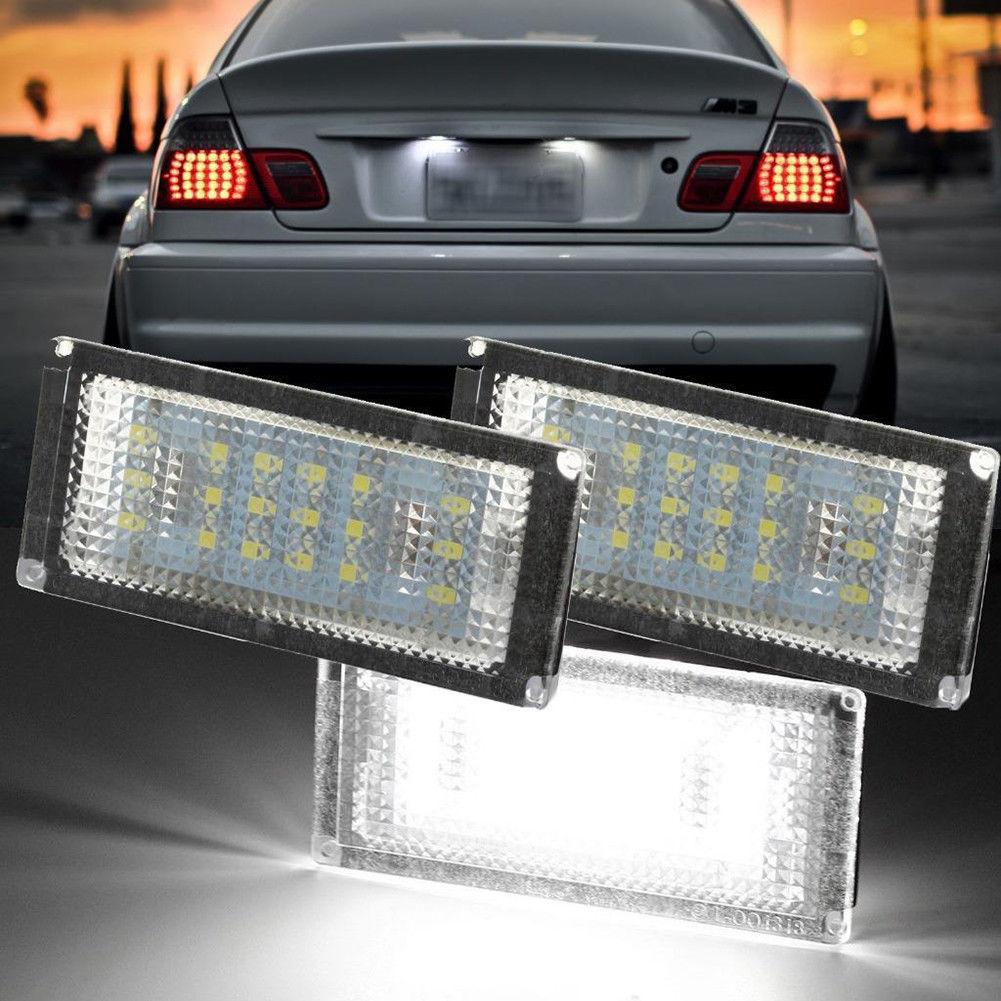 2 piezas 18 LED trasera de coche número luz de placa de licencia para BMW Serie 3 2D M4 E46