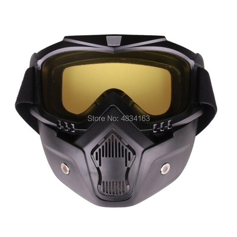 Detachable Goggles Motorcycle Helmet Mask Outdoor Riding Motocross Mouth Filter Open Face Half Helmet Vintage Glasses Windproof enlarge