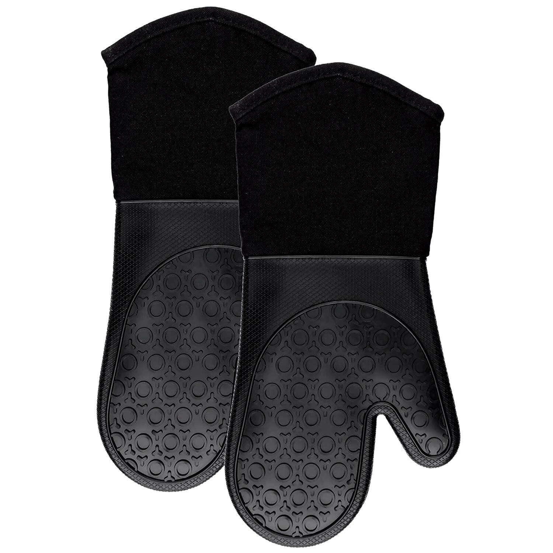 Melhor luvas de forno de silicone com forro de algodão acolchoado-luvas de cozinha de potholder resistente ao calor profissional-1 par (preto)