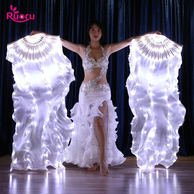 Ruoru carnaval Led Velos de seda abanico de la danza del vientre Velos de seda espectáculo de luz LED blanco de danza del vientre de la etapa trajes de baile