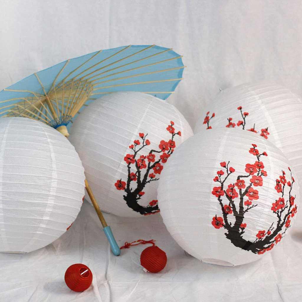 3 PCS 16 Polegada Vermelho Flores de Sakura Cereja Cor Branca Chinês/estilo Japonês Lanterna de Papel Diâmetro Holiday Party Cereja lâmpada