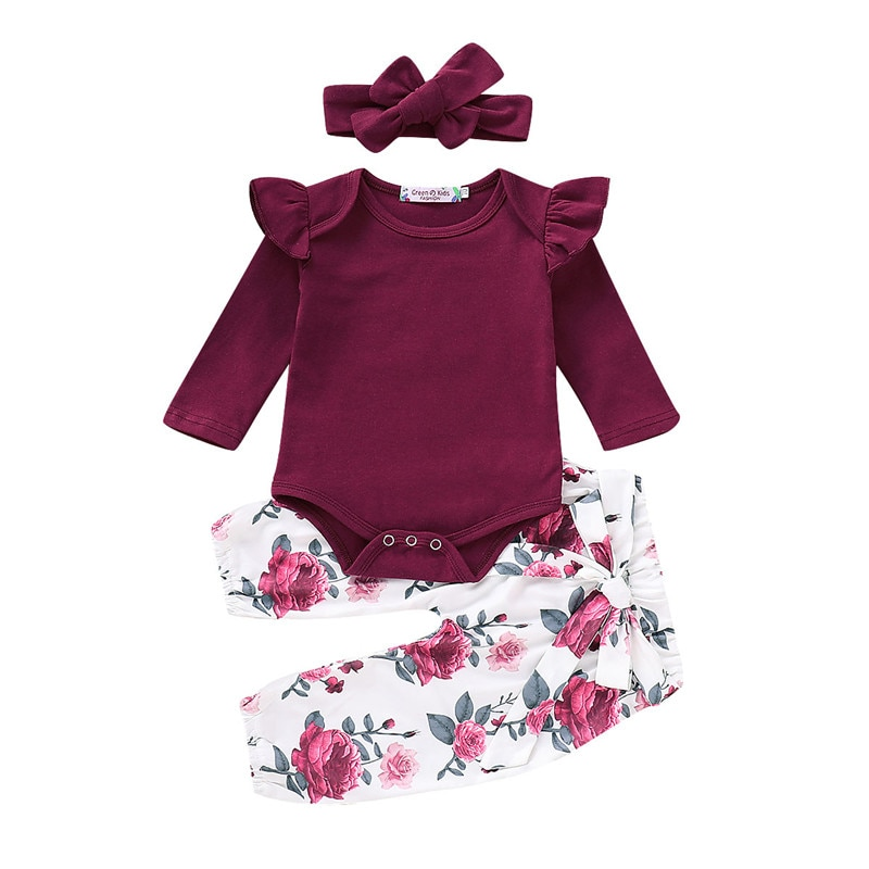 Floral Baby Mädchen Kleidung Lang Hülse Herbst Winter Neugeborenen Outfit Für Mädchen Casual Blume Print Infant Mädchen Kleidung Set D25