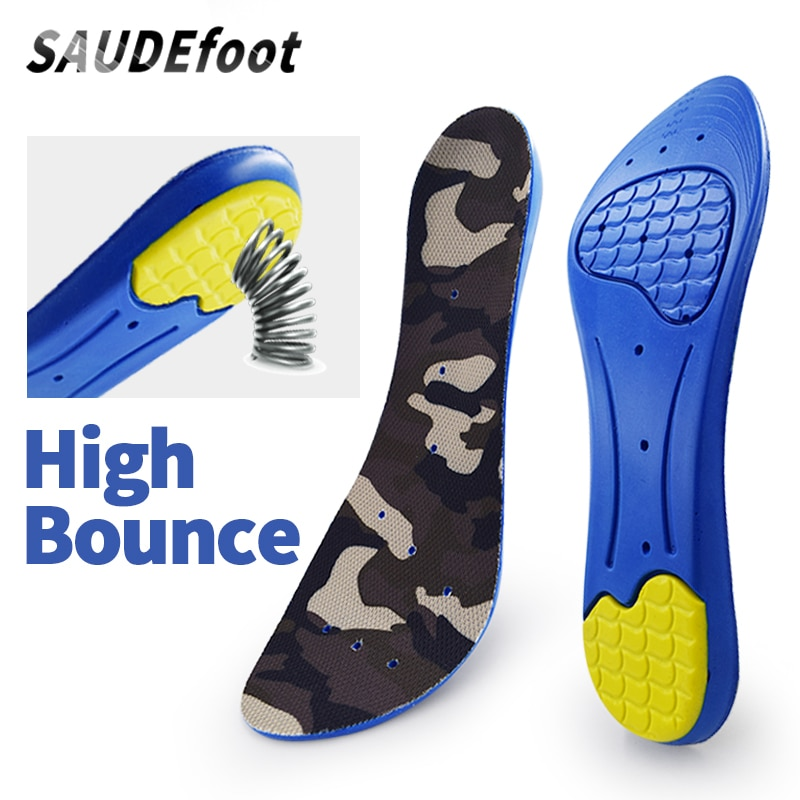 Saudefoot insoles for sneakers orthopedic sport insoles breathable shoe pad absorb with resistance to slip high arch support