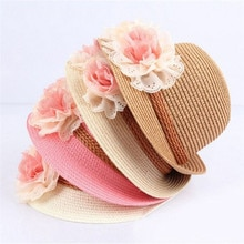 Cute Child Girls Straw Hat Caps Flower Sun Hat Kids Large Brim Beach Summer Boater Beach Ribbon Round Flat Top hat 3-12Y