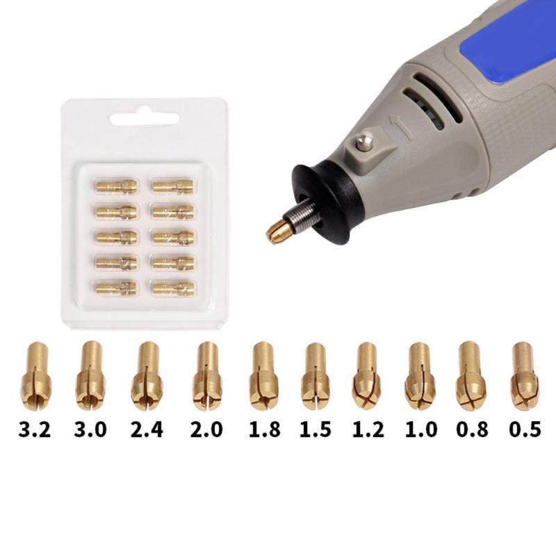 10 stücke Mini Messing Kupfer Spannzangenfuttern für Twist Bohrer Motor Welle Grinder 0,5mm-3,2mm Schnell Spannfutter set Heißer Verkauf