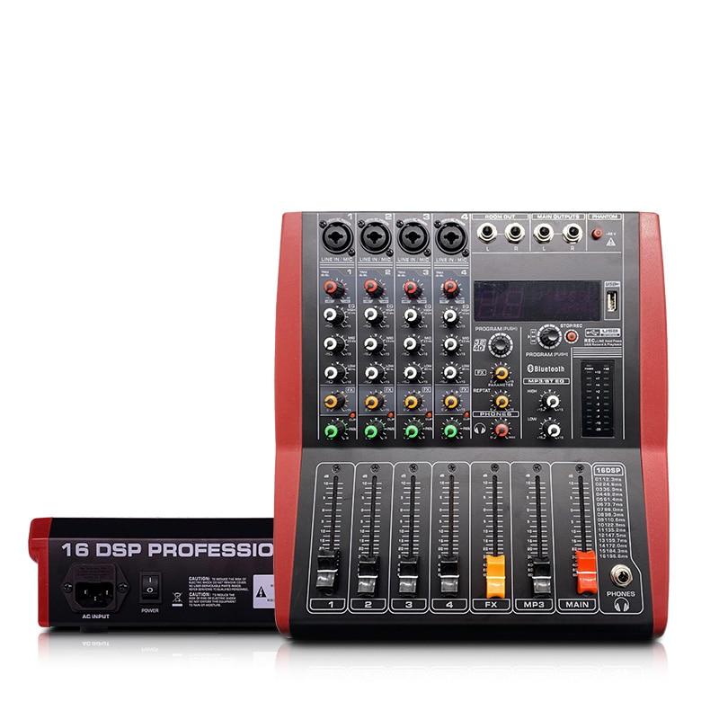 LEORY mezclador USB Bluetooth profesional, de 4 canales consola de DJ, controlador de mezcla, Karaoke, 48V, amplificador para Karaoke, fiesta de partido