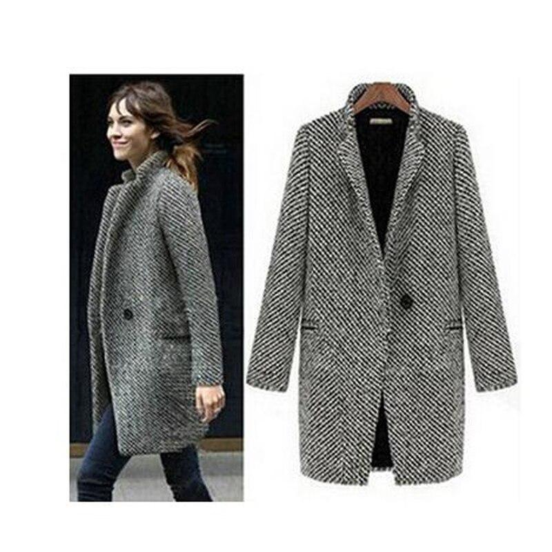 Envío Gratis abrigos elegantes de lana de Invierno para mujer talla grande gris cálido algodón trench laides terciopelo chaqueta gruesa abrigo largo
