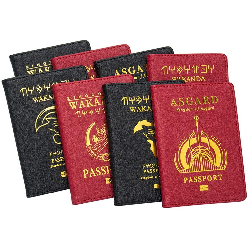 Accesorios de viaje Wakanda funda para pasaporte función Casual organizador de almacenamiento de cuero PU estuche de tarjeta de identificación Busines cartera de crédito