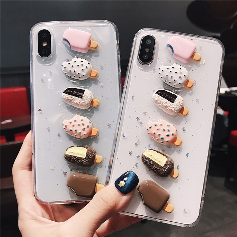 Brillante brillo 3D verano helado funda para iPhone x XS XR XM 6S 6 7 8 Plus transparente TPU suave parte trasera ostentosa cubierta