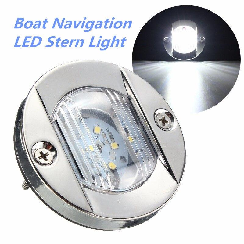 Nueva Luz LED de popa de barco marino DC 12V luz redonda de acero inoxidable luz trasera LED blanco frío accesorios de yate blanco cálido/blanco