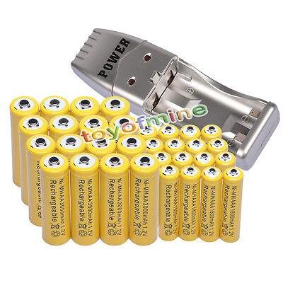 16 + 16x AA AAA 1800mAh akumulator 3000mAh 1.2V żółty + ładowarka USB