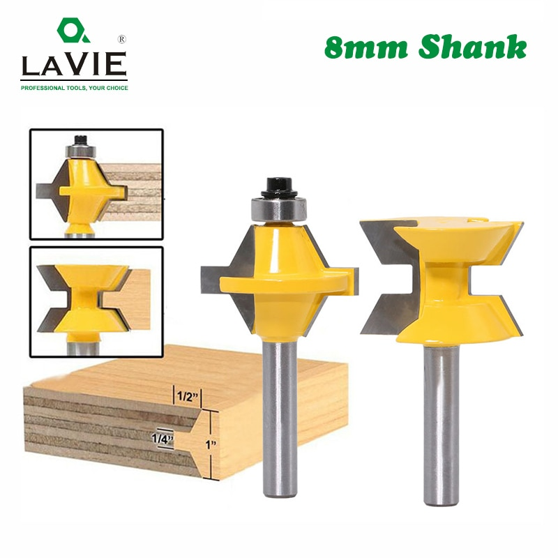 2pcs 8mm Shank 120 Degree Router Bit Set Woodworking Groove Cutters Tungsten Alloy Wood Tenon Milling Cutter Bits Tools 02120