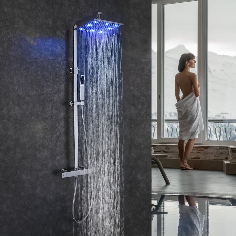 SKOWLL Bathroom Shower System Wall Mounted LED Rainfall Shower Set Tap Thermostat Faucet Bath Mixer