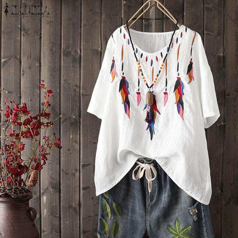 2020 verano blusa bordada ZANZEA mujeres V cuello camisas pantalón corto casual manga de algodón Lino Tops suelta Blusas túnica de fiesta