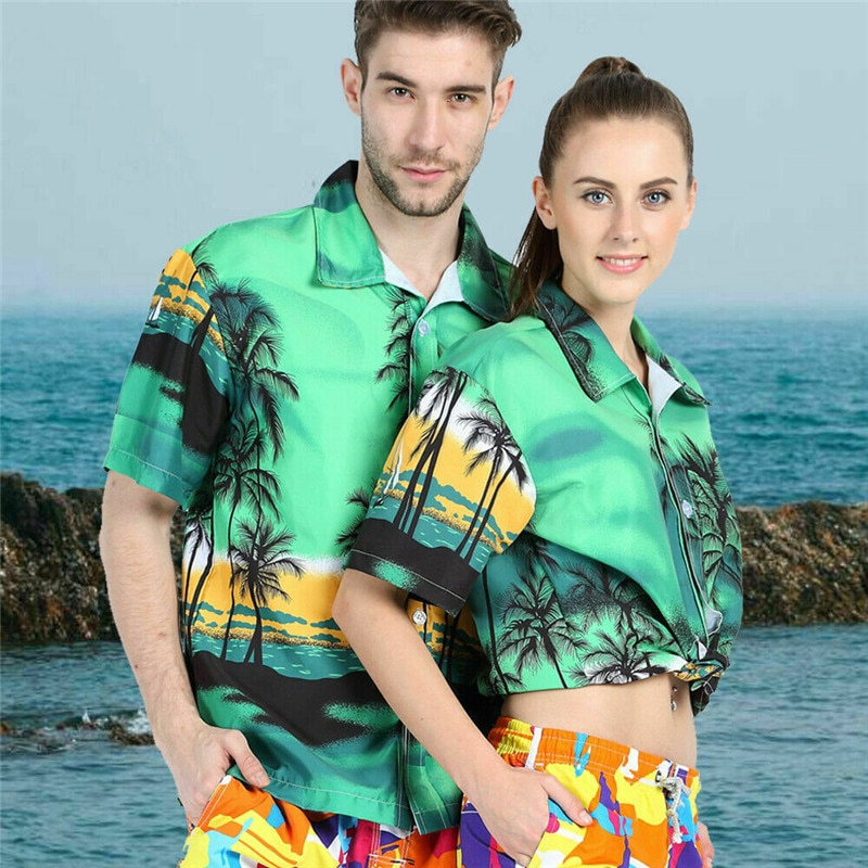 Unisex Frauen männer Sommer Shirts Hawaiian Strand Kurzarm Shirt Lässig Druck Dünnes Hemd Tops Grün Blau Plus Größe m-4XL