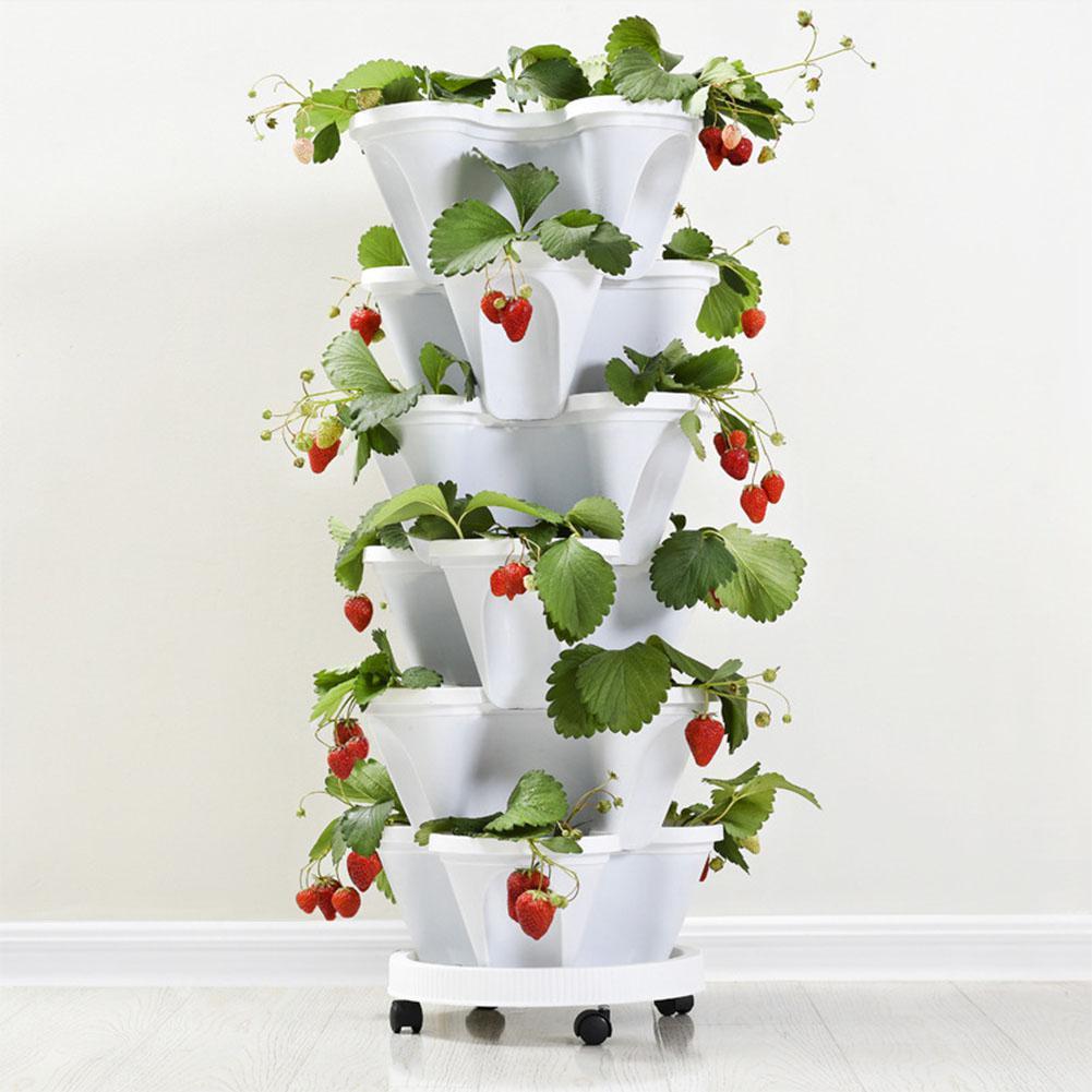 Maceta estereoscópica de tipo apilado, maceta para plantas y fresas, para decoración de flores y verduras