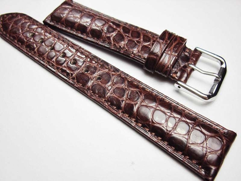 18 19 20 21 22 مللي متر اليدوية حقيقية جلد التمساح الساعات الأحمر براون خمر ساعة معصم الفرقة الأشرطة حزام للرجل ساعة ذات علامة تجارية