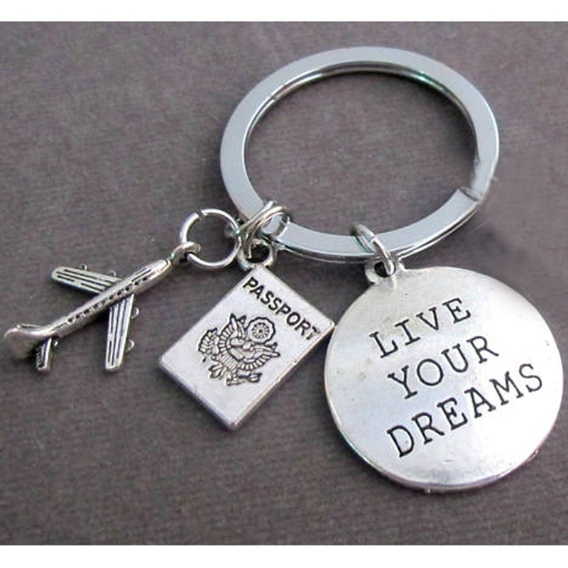 Travel Traveler Key Chain, Holiday Keyring, Flight Attendant Keychain,Cabin Crew Keyfob, Air Plane And Passport, Live Your Dream