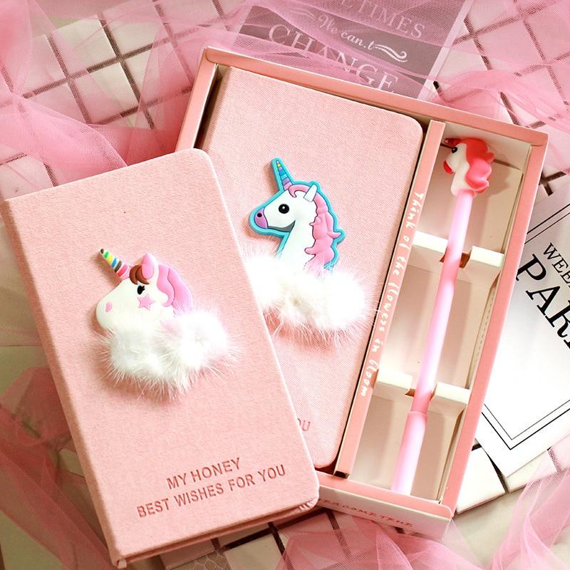 INS Cute Diary Set Wind Pink Unicorn Flamingo Creative Notebook Sub Notepad Pen Set Korea Stationery Kawaii Diary School Girl