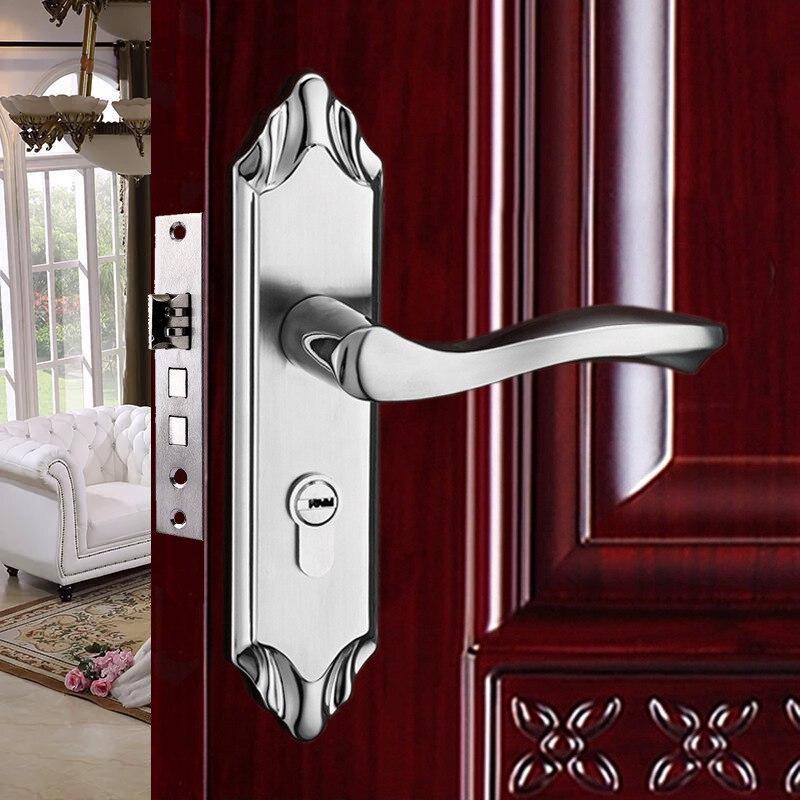 مجموعة قفل الباب ، الأجهزة الداخلية ، لوحة الفولاذ المقاوم للصدأ ، مقبض المقبض ، قفل اللسان المزدوج ، الجسم