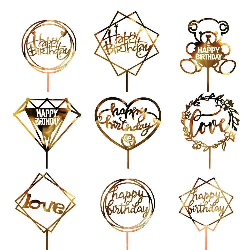 Acrílico de la torta de cumpleaños de estampado en caliente de la decoración del Partido de oro rojo amor corazón Cupcake Topper cumpleaños aniversario San Valentín JSX