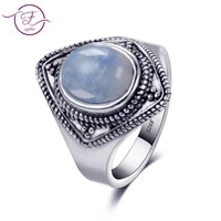 s925 sterling silver jewelry ring 8x10 oval retro texture natural moonstone ring mens and womens gifts wholesale
