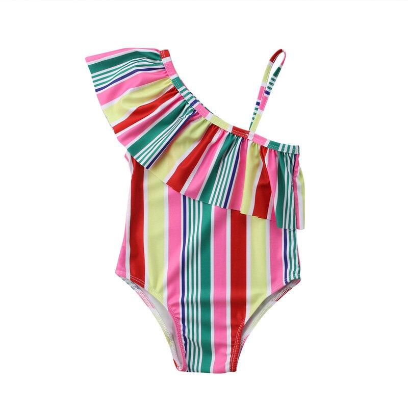Bikini a rayas bonito para niños, traje de baño del 2019, bañador de verano para niños y niñas de una pieza con volantes y un hombro, bañador de 2 a 7T, Tankinis