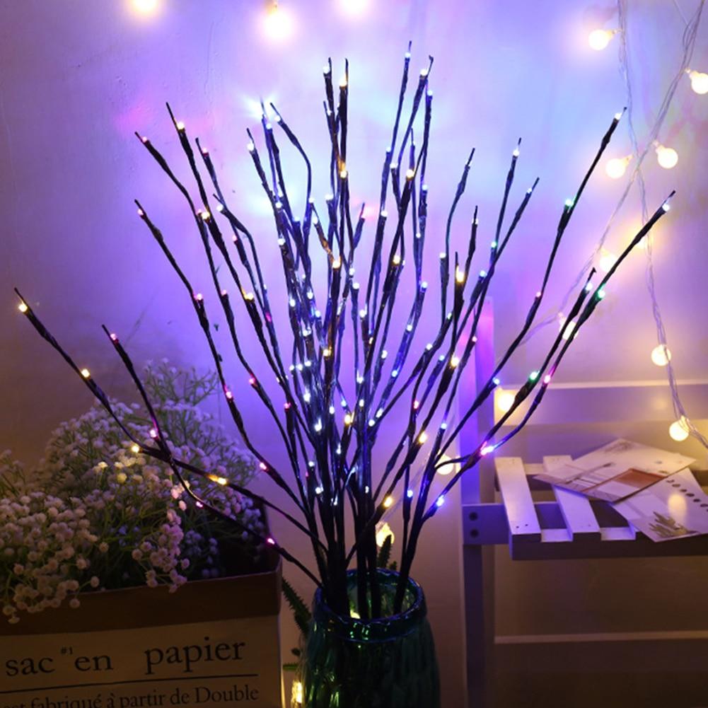 20 светодиодов, декоративные светильники с питанием от батареек, высокий наполнитель вазы, ветка с подсветкой для украшения дома
