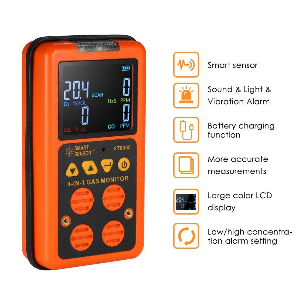 Detector de gás digital co h2s o2 lel monitor sensor de vazamento de gás com display lcd som luz vibração alarme analisadores gás