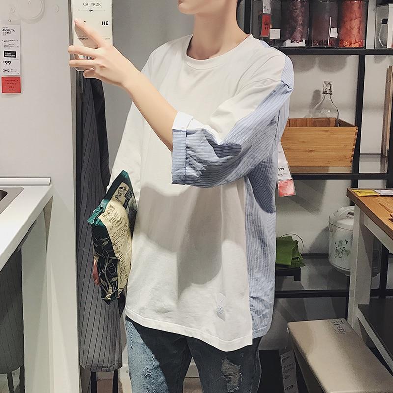 Nueva camiseta de verano a la moda para hombre, camiseta de manga corta informal a rayas de colores de contraste para hombre, Camiseta holgada de hip-hop para hombre