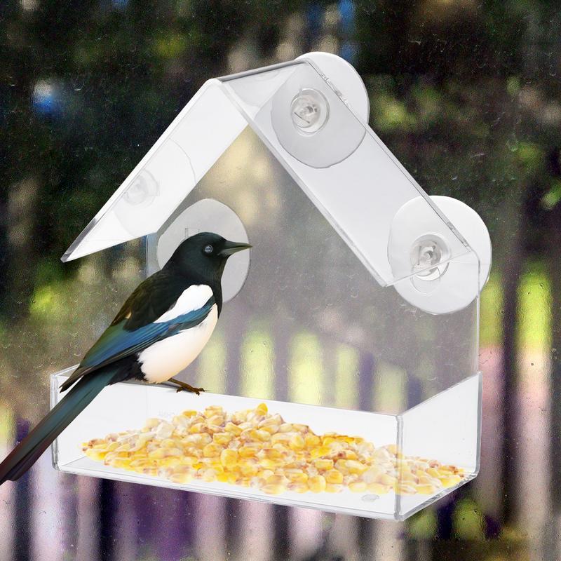 Transparente acrílico adsorción tipo casa forma pájaro alimentador innovador ventosa alimentador aves suministros
