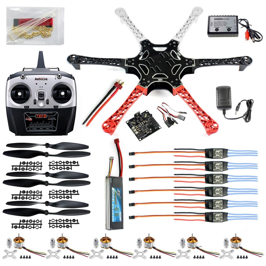 Juego completo hexacóptero RTF W/F550 FlameWheel Kit + KK 2,3 controlador + ESC Motor soldadura y depuración batería TX RX ventajas F05114-B
