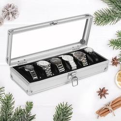Caixa de relógio 6 grade insert slots jóias relógios exibição caixa de armazenamento caso de jóias de alumínio decoração winder