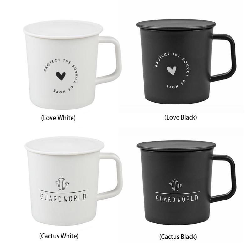 Tasses en plastique créatives avec couvercle Cactus amour   Tasse à eau à motif sans BPA, bureau café lait anti-cassure, tasses classiques simples