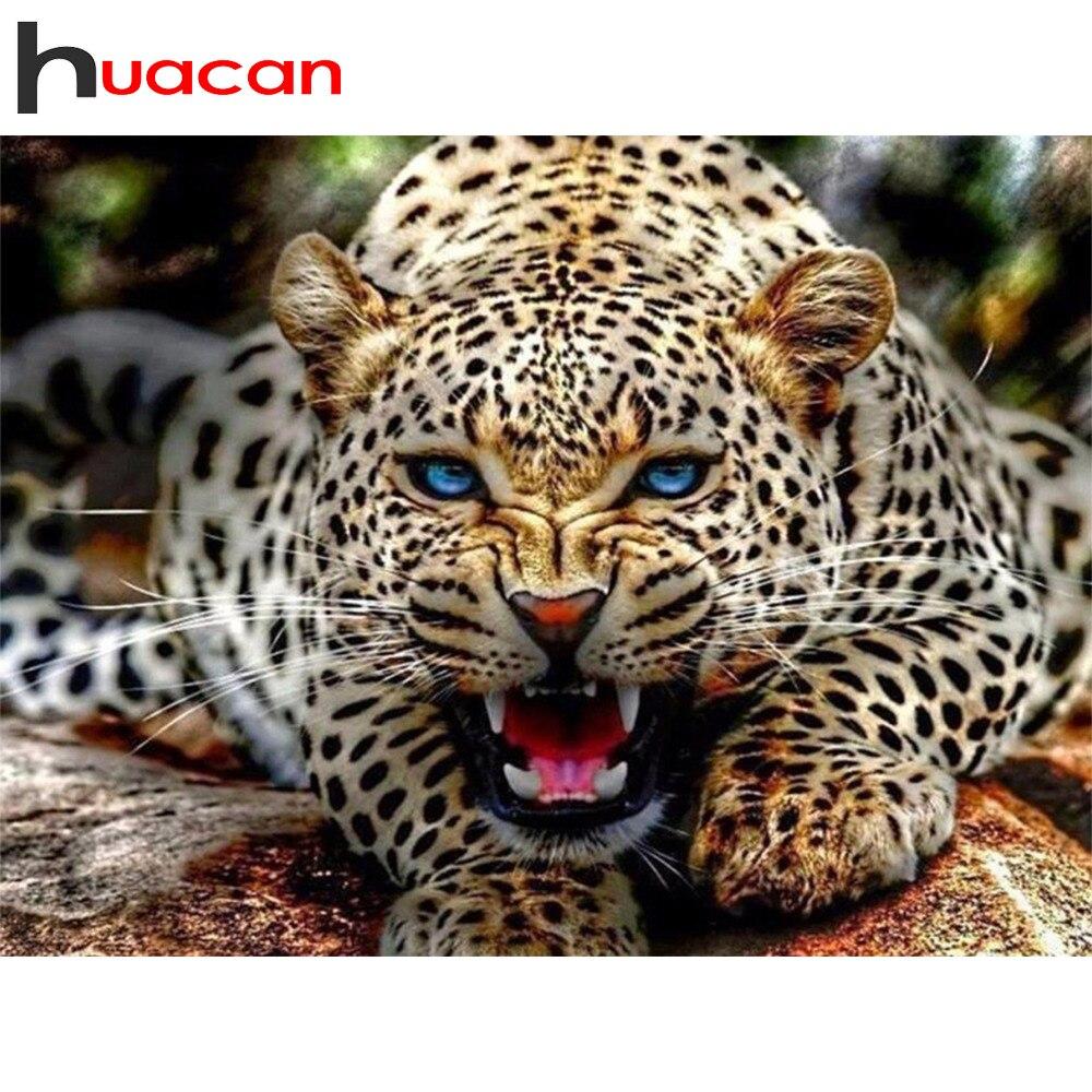Huacan diy diamante mosaico animal leopardo praça cheia pintura diamante artesanato kit bordado strass ponto cruz decoração