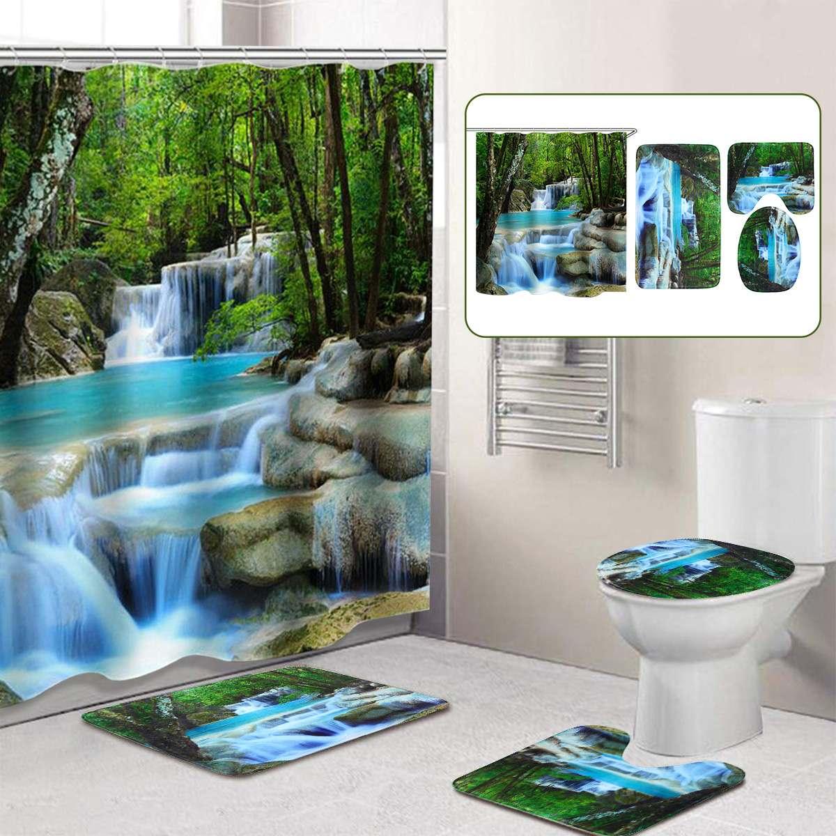 3D Wasserfall Landschaft Wasserdichte Dusche Vorhang Bad Landschaft Bäume Blume Bad Matte Set Sockel Teppich Deckel Wc Abdeckung